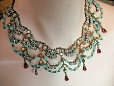 Michal Negrin Swarovski Crystal Flowers Roses  Vintage Style  Necklace WOW