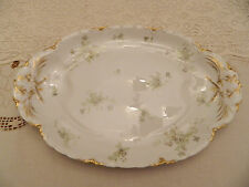 "Haviland & Co. Limoges 17 3/4"" Platter Green Flowers Gold Daubs 4-5"