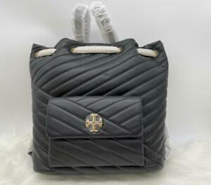 NWT $598 Tory Burch Kira Chevron Drawstring Soft Quilted Black Leather Backpack