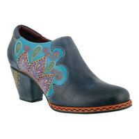 L'Artiste by Spring Step Women's   Zami Heeled Shootie Blue Full Grain Leather