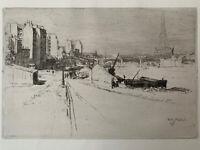 Walter ZEISING Gravure eau forte etching Quai Seine Port d'Auteuil Tour Eiffel