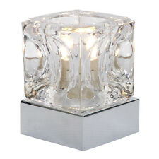 Touch Modern Silver Chrome  Glass Ice Cube Touch Bedside Table Light Lamp