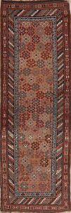 Antique Vegetable Dye Coral Salmon Kazak Caucasian Tribal Runner Rug Wool 4'x11'