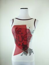 SAVE THE QUEEN WHITE RED black KNIT TOP SLEEVELESS GRAPHIC BULL TORO S