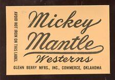 Vintage Mickey Mantle Westerns Advertising Card MINT