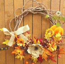 "20"" Fall Grapevine Wreath Zinnias Berries Leaves with Burlap Flower"