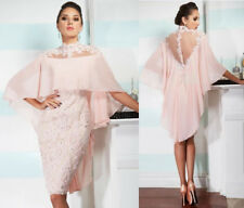 Pink Knee Length Mother of the Bride Dress Lace Crystal Formal Prom Evening Gown