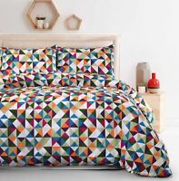 Soft Diamond 100% Cotton Geometric Multicolour Quilt Duvet Cover Bedding Set