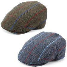 Flat Cap Hat Wool Tweed Country Driving Hawkins Men Ladies BLUE BROWN
