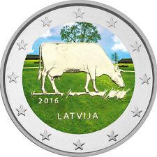 """2 Euro Lettonie 2016 """"lait économie"""" - COLORIERT"""