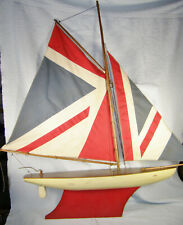 Vintage English? Wood Pond Boat Sailboat Yacht - Union Jack / British Flag Sails