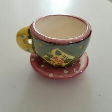 "Mary Engelbreit Miniature Tea Cup And Saucer 2"" x 2.5"" Pink Green Yellow Me Ink"