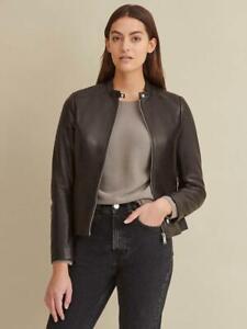 Calvin Klein Women's Leather Jacket Classic Scuba Plus Size Black NWT $600
