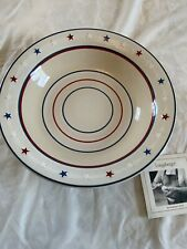 Longaberger Stars Stripes American Starburt 12�Rd Pottery Pasta Serving Bowl