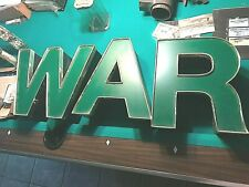 "Green Architectural Salvage Large Plastic Letters ""War"" Sign Was Electrified"