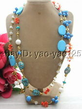 50'' Keshi Pearl Turquoise Coral Crystal Necklace Long necklace