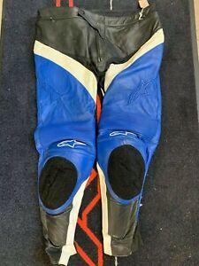 Alpinestars Track Leather Motorcycle Trousers EU 58 UK 40-42 Black Blue White