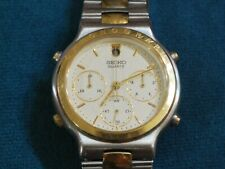Vintage SEIKO 7A34 Two Tone Men's Chronograph Watch w/Date at 12