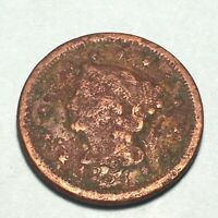 1854 Braided Hair Large Cent 1c Collectible Type Coin High Grade With Corrosion