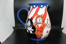 """Catzilla by Candace Reiter - Patriotic Cats Pitcher - 9""""H"""