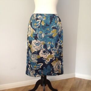 Ladies Blue Floral Skirt By Laure Ashley UK 12 Absolutely Stunning !