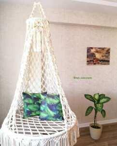 Hammock Macrame Swing Chair Hanging Twisted Rope Tassels Indoor Outdoor Beige