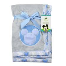 "Disney Mickey Mouse Blue Applique Soft Baby Blanket  30"" x 30"""