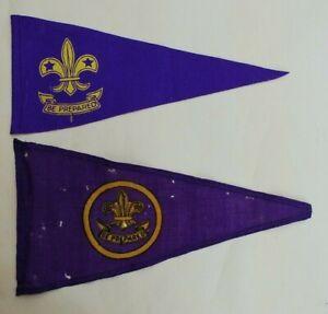 Old Boy Scout Pennants / Flags x 2 - Purple