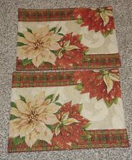Set of 2 Christmas Poinsettias Fabric Placemats Red Green Gold Metallic NEW