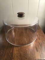 "Vintage Clear Plastic Cake Dome w/Wood Knob 5.5"" Tall"