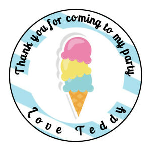 Personalised Ice Cream Summer Birthday Thank You Stickers Party Bag Sweet Cone