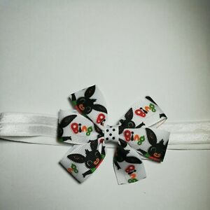 Elastic Stretchy Hadband With BING BUNNY Ribbon Bow Girls Baby Toddler Bows