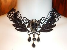 BLACK VENETIAN LACE CHOKER COLLAR NECKLACE EGL gothic wings feathers leaves I1
