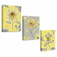 Yellow Gray Floral Framed Wall Art Canvas for Modern Bedroom Decor 12x16 3 Pack