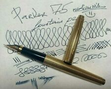 Parker 75 Insignia Cisele Gold Plated Fountain Pen 14ct 585 M Gold Nib TE France