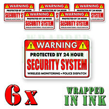 Video Surveillance Security Stickers Warning 24 hour RED REC. Decal 6 PACK