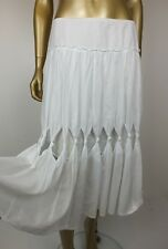 ANGELA LEWIS WHITE FULL CIRCLE SKIRT - 100% COTTON  - MADE IN  NEW ZEALAND - 12