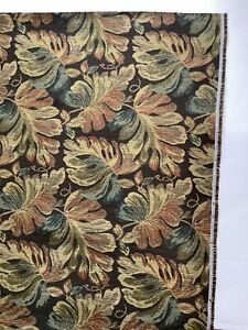 Brown Colorful Leaves Damask Tapestry Upholstery Fabric Material Almost 5 Yards