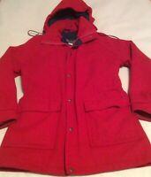 Vintage Woolrich Women's Medium Red Wool Coat Hooded Jacket