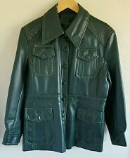 Vintage Bottom Line 70s Style Women's Jacket Size 16 Faux Leather PVC Green
