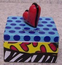 Jewelry Treasure Trinket Box Romero Britto Heart Square Shaped NEW