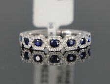 $2,850 18K White Gold Blue Sapphire Round Diamond Wedding Band Ring Size 6.5