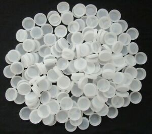 LOT OF 100 CLEAR WHITE PLASTIC WATER BOTTLE CAPS CRAFT SUPPLIES