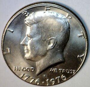 1976d ERROR BICENTENNIAL Off Center + Broad Struck KENNEDY HALF BU + Coin  NR
