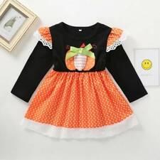 Toddler Kids Baby Girls Halloween Pumpkin Long Sleeve Party Fancy Dress Clothes