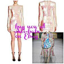 9c473f862a3 Balmain white metallic pink LONG SLV paillette sequin dress F 40 NWT  3195