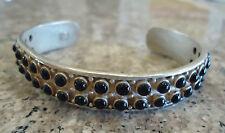 "Sterling Silver Cuff Bracelet Pebble Black Onyx  - 7"" - 21.4 Grams"