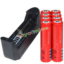 8x 3.7V 18650  Li-ion 6800mAh Red Rechargeable Battery + 9V AAA Charger