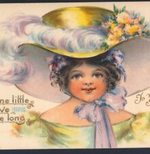 NISTER.. VALENTINE'S DAY,LOVELY GIRL WEARS HUGE,FEATHERED HAT MARCELLUS,POSTCARD