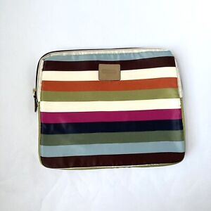 """COACH Laptop Tablet Sleeve Padded Pouch Colorful Striped Logo 13.5"""" iPad Women"""